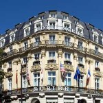 The exterior of the renowned Hotel Scribe, Paris
