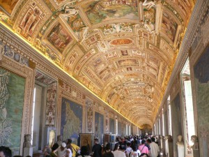 A hallway ceiling in the Vatican Museum, Rome