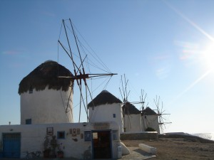 Windmills on the beautiful island of Mykonos, Greece