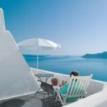 View from the terrace at Perivolas Hotel in Oia, Santorini, Greece