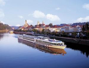The Viking Spirit cruising the Danube River in Passau, Germany