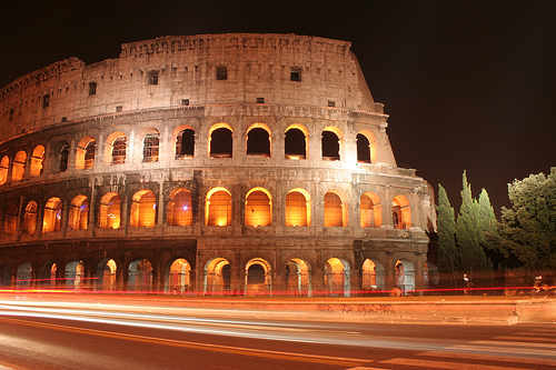 Rome's magnificent Colosseum at night