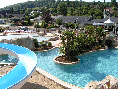The pool at La Vallée campsite in Normandy, France