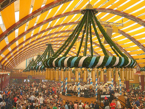 Inside of of the many tents at Munich's incredible Oktoberfest - Photo: StrudelMonkey